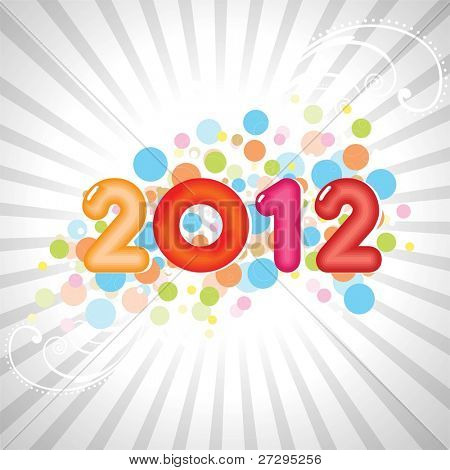 new year abstract 2012 with colorful design on gray rays background for new year & other occasions.