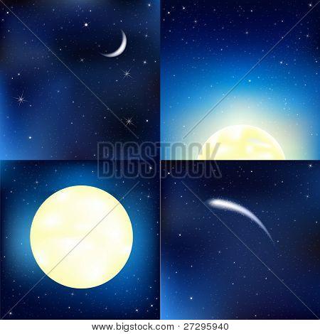Dark Blue Sky Set, Vector Illustration