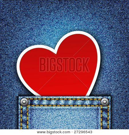 Realistic vector denim background with heart.