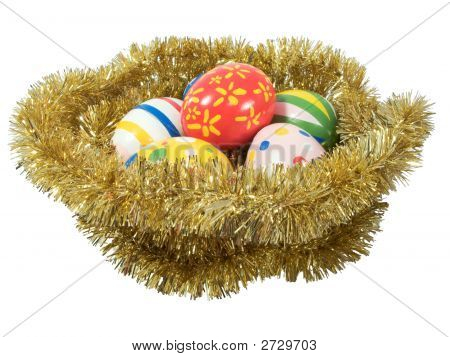 Real Hand Painted Easter Eggs In A Golden Nest