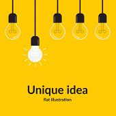Unique Idea. Bright Idea And Insight Concept With Light Bulb, Isolated On Yellow Background, Creativ poster
