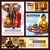 Buddhism Religion Design With Holy Symbols, Vector. Monk In Robe And Elephant, Buddha Statue And Vas poster