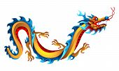 Illustration Of Chinese Dragon. Mascot Or Tattoo. Traditional China Symbol. Asian Mythological Color poster