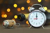 New Years Eve Celebration. Midnight Clock And Champagne poster
