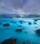 picture of promontory  - evening on sea - JPG