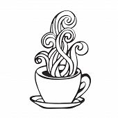 Hot Coffee Cup Smoke Icon Image Black And White Handdrawn In Cartoon Doodle Style poster