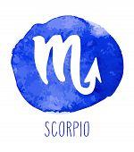 Scorpio Hand Drawn Zodiac Sign. Astrology Design Element. Vector Graphic Illustration In Blue Waterc poster