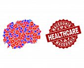 Healthcare Combination Of Bright Medical Mosaic Map Of Macedonia And Scratched Seal Stamp. Vector Re poster