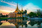Temple Thailand / Beautiful Thailand Temple Dramatic Colorful Sky Twilight Sunset Shadow On Water Re poster