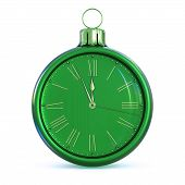 New Years Day Midnight Christmas Ball Green 12 Clock Face poster