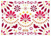 Mexican Traditional Folk Art Vector Geometric Pattern With Flowers And Birds, Orange And Red Greetin poster