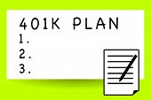 Handwriting Text Writing 401k Plan. Concept Meaning Qualified Employer Sponsored Retirement Plan Tha poster
