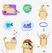 Vector Set Of Cute Cat In Life Situations Isolated Clip Art poster