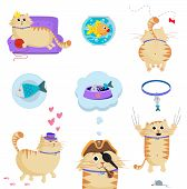 Vector Set Of Cute Cat In Different Life Situations poster