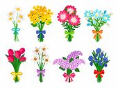 Fresh Flowers Bouquets. Summer Bouquet Set Isolated, Woman Flowers Gift, Tulips And Daisies, Lilacs  poster
