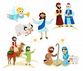 Merry Christmas Holiday Set Of Flying Angel And Jesus Christ Story poster