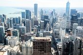 Chicago skyline aerial drone view from above, lake Michigan and city of Chicago downtown skyscrapers poster