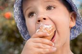 Children Eating With A Spoon Ice Cream. Portrait Happy Childhood Nutrition Child Eating Tastefully E poster