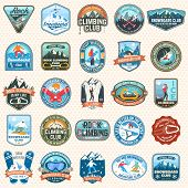Set Of Snowboarding And Rock Climbing Club Patches. Vector. Concept For Patch, Shirt, Print, Stamp O poster