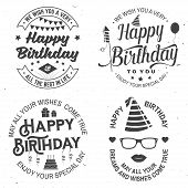 Set Of Happy Birthday Templates For Overlay, Badge, Sticker, Card With Bunch Of Balloons, Gifts, Fir poster