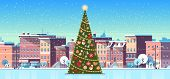 City Building Houses Winter Street With Decorated Pine Tree Merry Christmas Happy New Year Concept F poster