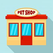 Pet Street Shop Icon. Flat Illustration Of Pet Street Shop Vector Icon For Web Design poster