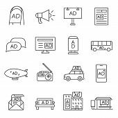 Advertising, Icon Set. Advertising Space, Linear Icons. Line With Editable Stroke poster