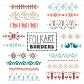 Vector Collection Of Dividers, Borders Decorated With Scandinavian Folk Patterns poster