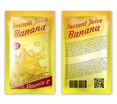 3d Realistic Package Of Instant Juice Isolated On White Background. Yellow Banana And Slices In Spla poster