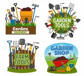 Gardening Tools And Equipment Isolated Posters. Garden Shop Items Shovel, Spade, Rake And Pruner, Tr poster