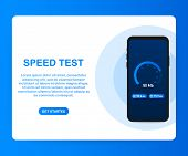 Speed Test On Smartphone. Speedometer Internet Speed 100 Mb. Website Speed Loading Time. Vector Stoc poster
