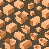 Delivery Packaging Boxes Seamless Pattern. Postal Design With Empty Opened And Closed Cardboard Boxe poster