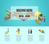 Factory Automation And Machinery Isometric 3d Poster. Industrial Goods Production, Assembly Line Wit poster