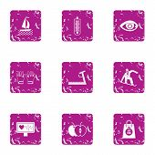 Heartbeat Icons Set. Grunge Set Of 9 Heartbeat Icons For Web Isolated On White Background poster
