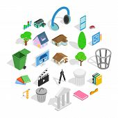 Excellent House Icons Set. Isometric Set Of 25 Excellent House Icons For Web Isolated On White Backg poster