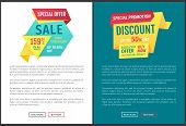 Sale Special Offer Posters Set With Text Sample. Only Tomorrow Natural Product On Low Price. Buy Now poster