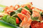 Salmon salad drizzled with Hollandaise sauce - detail