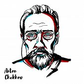 Anton Chekhov Engraved Vector Portrait With Ink Contours. Russian Playwright And Short-story Writer, poster