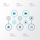 Multimedia Icons Colored Set With Sd Card, Shuffle, Multimedia And Other Memory Elements. Isolated   poster