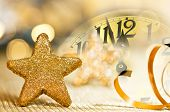 Clock Face Before Midnight On The New Year Eve poster