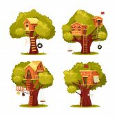 Set Of Isolated Kids House On Tree Or Children Home For Playing With Swing Tyre Or Tire Seesaw, Ladd poster
