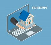 Online Banking Poster Laptop Vector Poster With Text And Human Hands Holding Bank Building. Financia poster