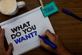 Writing Note Showing What Do You Want Question. Business Photo Showcasing Tell Me Your Desires Reque poster