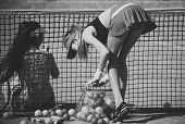 Activity, Energy, Energetic. Sport, Training, Workout. Women Training On Tennis Court, Activity. Wel poster