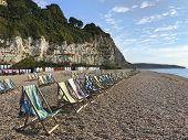 Beer beach Devon, England with lines of deckchairs overlooking the sea and Lyme Bay on a blue sky da poster