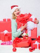 Perfect Gift For Girlfriend Or Wife. Opening Christmas Gift. Santa Bring Her Gift That She Always Wa poster