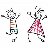 Girl And Boy In The Style Of Childrens Drawings.  Illustration. Outline Drawing On A White Backgroun poster