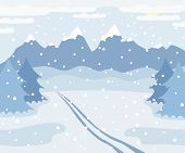 Snowy Winter Mountains Landscape With Ski Track On Snow, Spruce Trees, Forest And Hills, Winter Outd poster