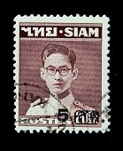 THAILAND - CIRCA 1950-th: A stamp printed in Thailand shows image of King Bhumibol Adulyadej, the wo