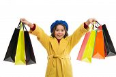 Little Girl Happy Face Hold Bunch Shopping Bags. Shopaholic Concept. Child Satisfied Shopping Isolat poster